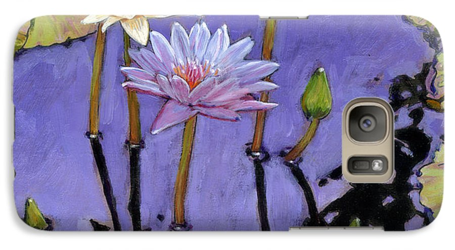 Water Lilies Galaxy S7 Case featuring the painting Pastel Petals by John Lautermilch