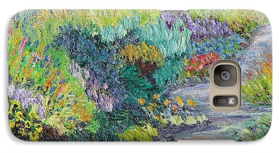 Flowers Galaxy S7 Case featuring the painting Pathway Of Flowers by Richard Nowak