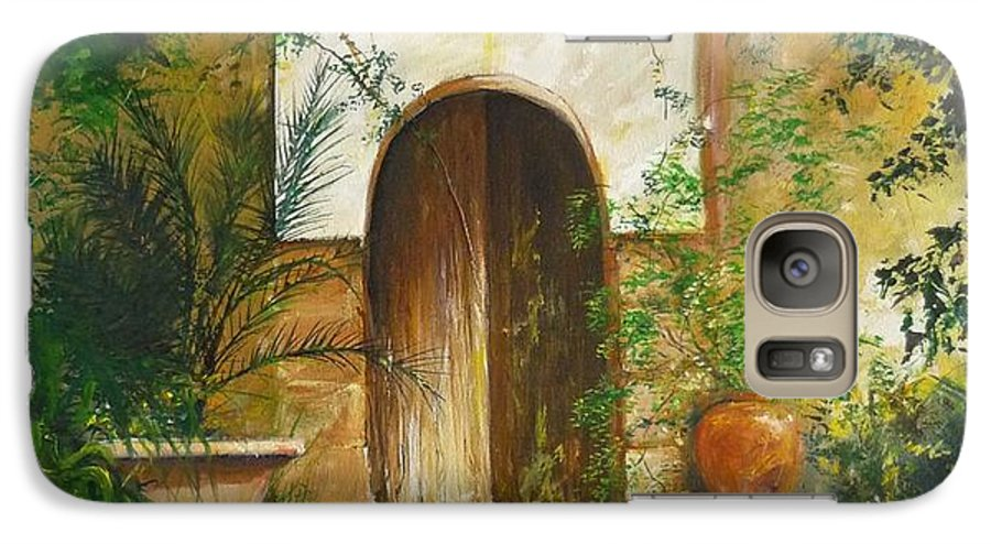 Farmhouse Courtyard Galaxy S7 Case featuring the painting Patio Mallorquin by Lizzy Forrester