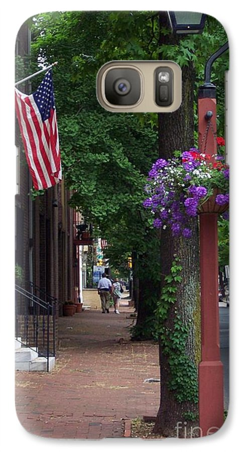 Cityscape Galaxy S7 Case featuring the photograph Patriotic Street In Philadelphia by Debbi Granruth