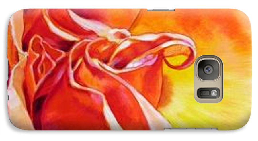Close Up Of A Reddish Galaxy S7 Case featuring the painting Patterns Of A Rose by John Lautermilch