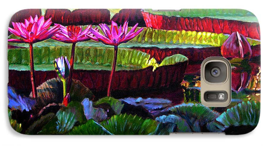 Water Lilies Galaxy S7 Case featuring the painting Patterns Of Color And Light by John Lautermilch