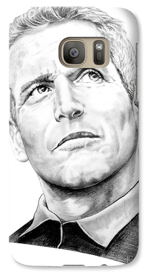 Paul Newman Galaxy S7 Case featuring the drawing Paul Newman by Murphy Elliott