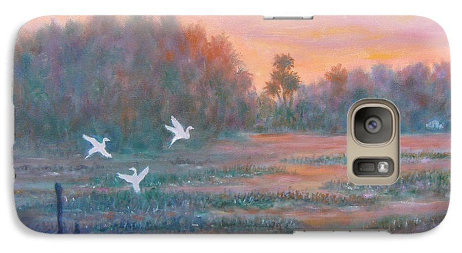 Low Country; Egrets; Sunset Galaxy S7 Case featuring the painting Pawleys Island by Ben Kiger