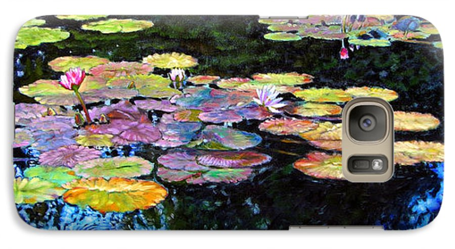 Water Lilies Galaxy S7 Case featuring the painting Peace Among The Lilies by John Lautermilch