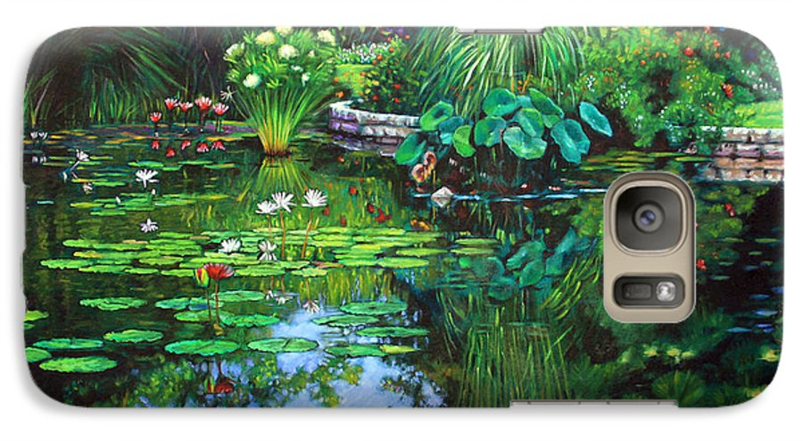 Landscape Galaxy S7 Case featuring the painting Peace Floods My Soul by John Lautermilch