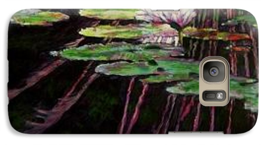 Quiet Pond With Water Lily And Reflections. Missouri Botanical Garden Galaxy S7 Case featuring the painting Peaceful Reflections by John Lautermilch