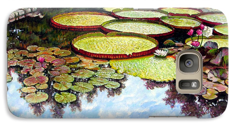 Landscape Galaxy S7 Case featuring the painting Peaceful Refuge by John Lautermilch
