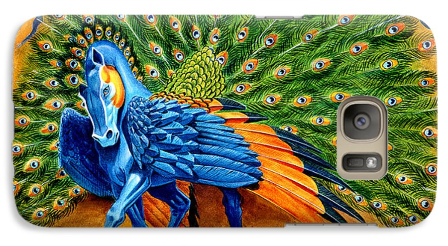 Horse Galaxy S7 Case featuring the painting Peacock Pegasus by Melissa A Benson