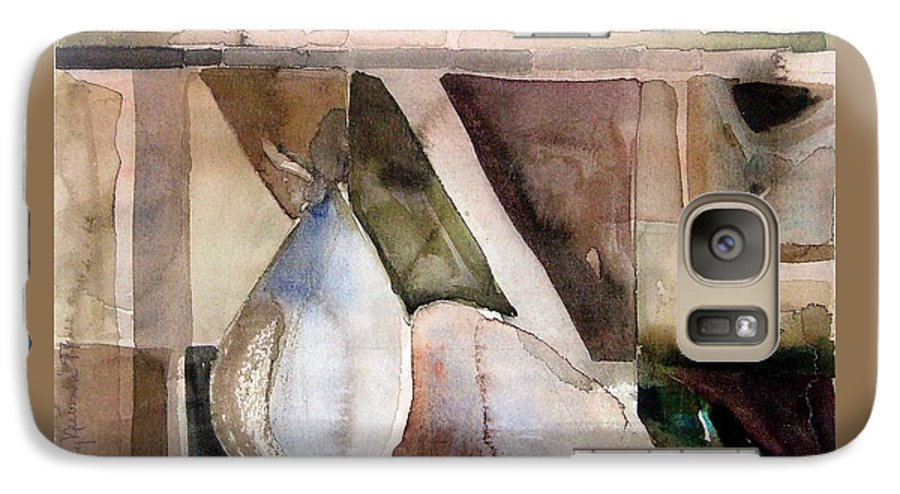 Pear Galaxy S7 Case featuring the painting Pear Study In Watercolor by Mindy Newman