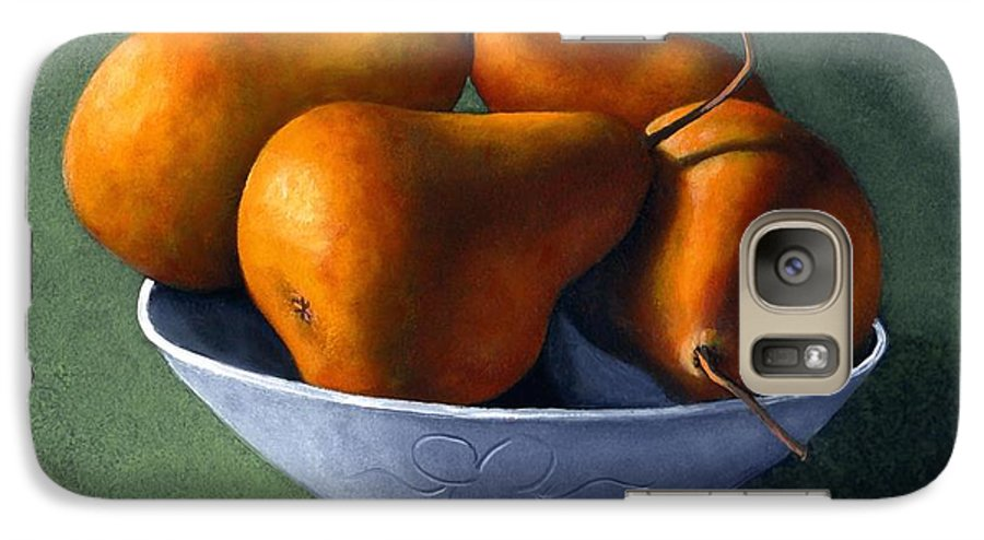 Still Life Galaxy S7 Case featuring the painting Pears In Blue Bowl by Frank Wilson