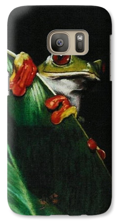 Frog Galaxy S7 Case featuring the drawing Peek-a-boo by Barbara Keith