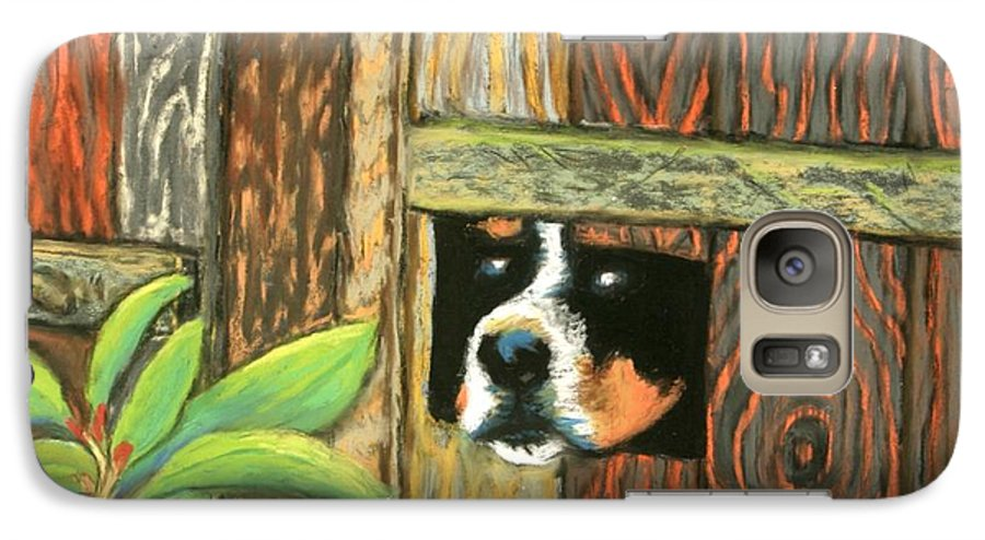 Dog Galaxy S7 Case featuring the painting Peek-a-boo Fence by Minaz Jantz