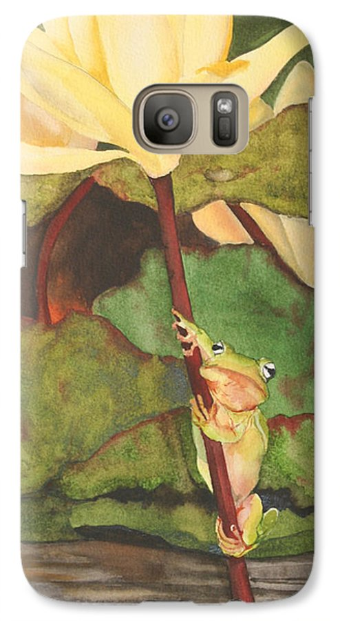Frog Galaxy S7 Case featuring the painting Peeping Tom by Jean Blackmer