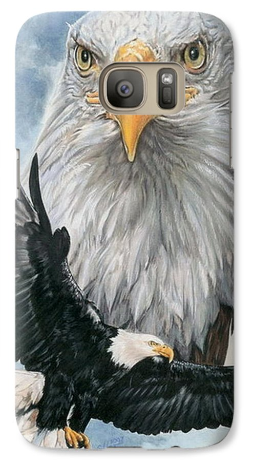 Bald Eagle Galaxy S7 Case featuring the mixed media Peerless by Barbara Keith