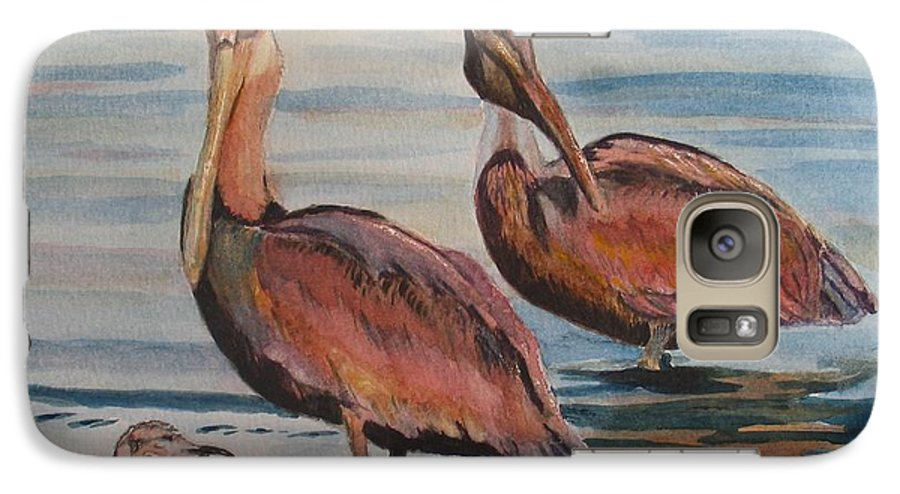 Pelicans Galaxy S7 Case featuring the painting Pelican Party by Karen Ilari