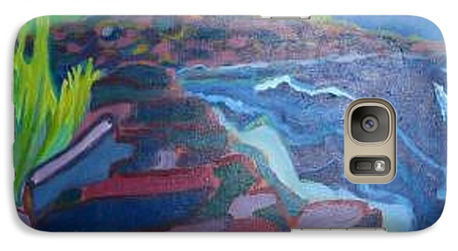 Ocean Galaxy S7 Case featuring the painting Pemaquid Cliffs by Debra Bretton Robinson
