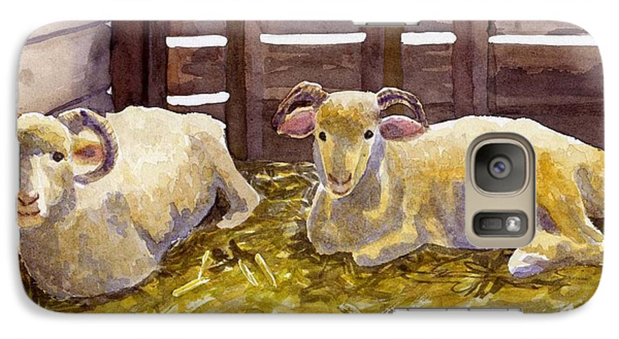 Sheep Galaxy S7 Case featuring the painting Pen Pals by Sharon E Allen