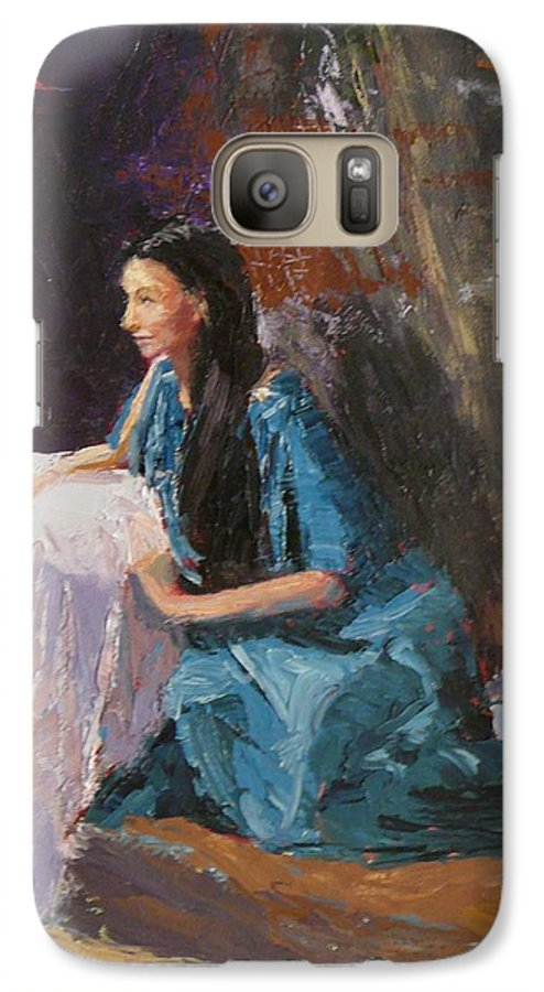 Sitting Woman Galaxy S7 Case featuring the painting Penelope by Irena Jablonski
