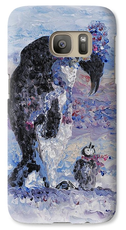 Penguins Winter Snow Blue Purple White Galaxy S7 Case featuring the painting Penguin Love by Nadine Rippelmeyer