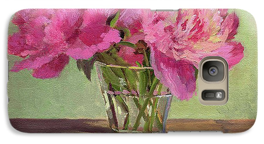 Still Galaxy S7 Case featuring the painting Peonies In Tumbler by Keith Burgess