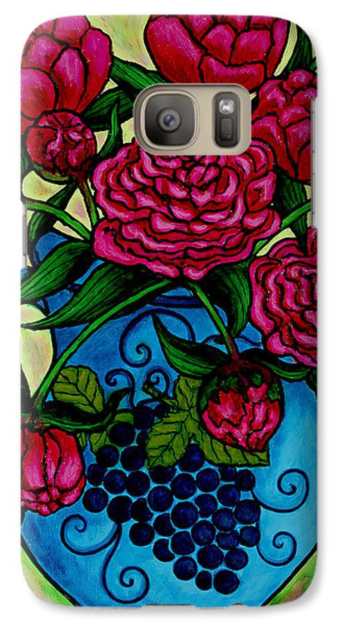 Peonies Galaxy S7 Case featuring the painting Peony Party by Lisa Lorenz