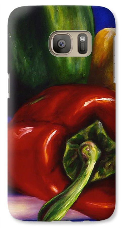 Still Life Galaxy S7 Case featuring the painting Peppers On Peppers by Shannon Grissom