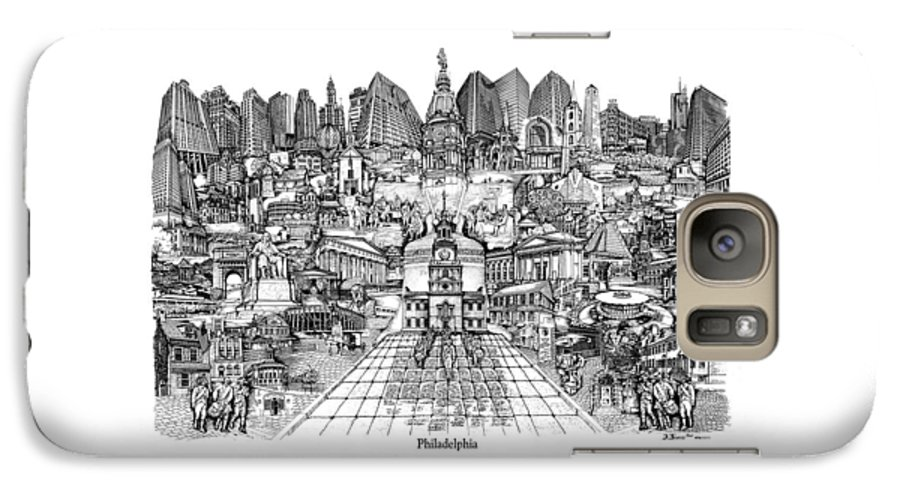 City Drawing Galaxy S7 Case featuring the drawing Philadelphia by Dennis Bivens