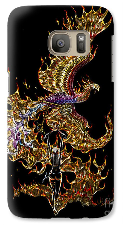 Phoenix Galaxy S7 Case featuring the drawing Phoenix by Stanley Morrison