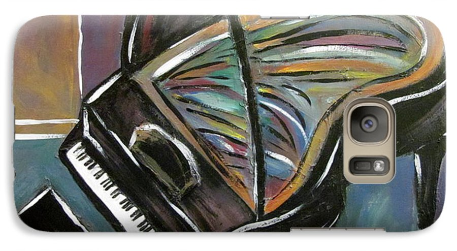 Impressionist Galaxy S7 Case featuring the painting Piano With High Heel by Anita Burgermeister