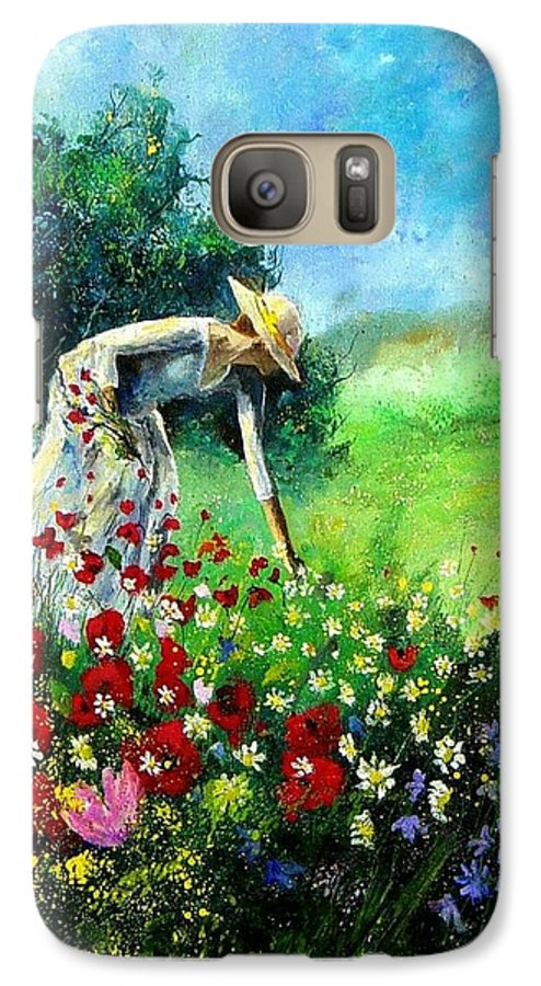 Poppies Galaxy S7 Case featuring the painting Picking Flower by Pol Ledent