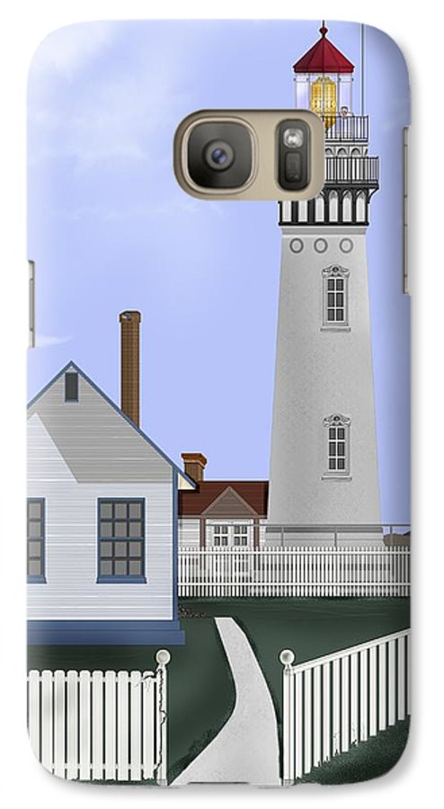 Lighthouse Galaxy S7 Case featuring the painting Pigeon Point Lighthouse California by Anne Norskog