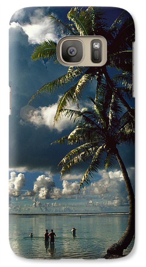 Island; Paradise; Beach; Palms; Palm; Palm Trees; Calm Water; Tropical; Swimmers; Vacation; Ideal; T Galaxy S7 Case featuring the photograph Pigeon Point On Tobago by Carl Purcell