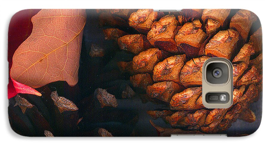 Pine Cones Galaxy S7 Case featuring the photograph Pine Cones And Leaves by Nancy Mueller