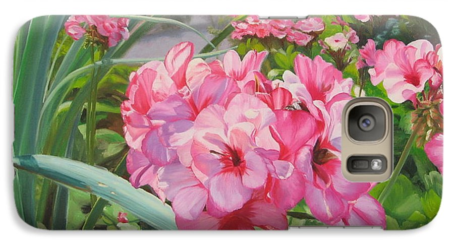 Pink Geraniums Galaxy S7 Case featuring the painting Pink Geraniums by Lea Novak