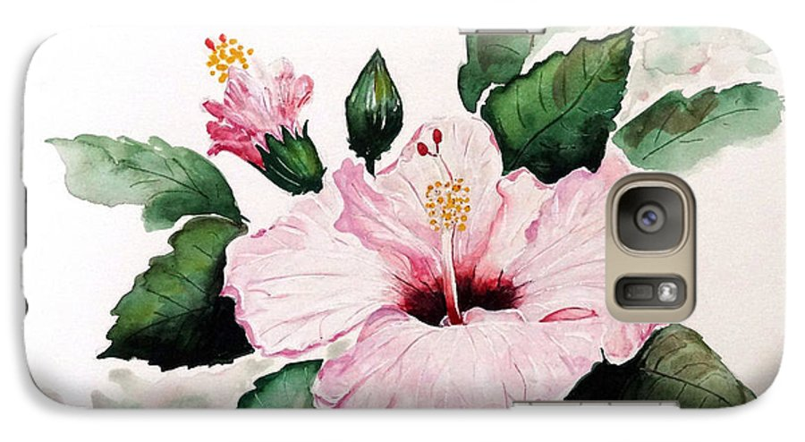 Hibiscus Painting  Floral Painting Flower Pink Hibiscus Tropical Bloom Caribbean Painting Galaxy S7 Case featuring the painting Pink Hibiscus by Karin Dawn Kelshall- Best