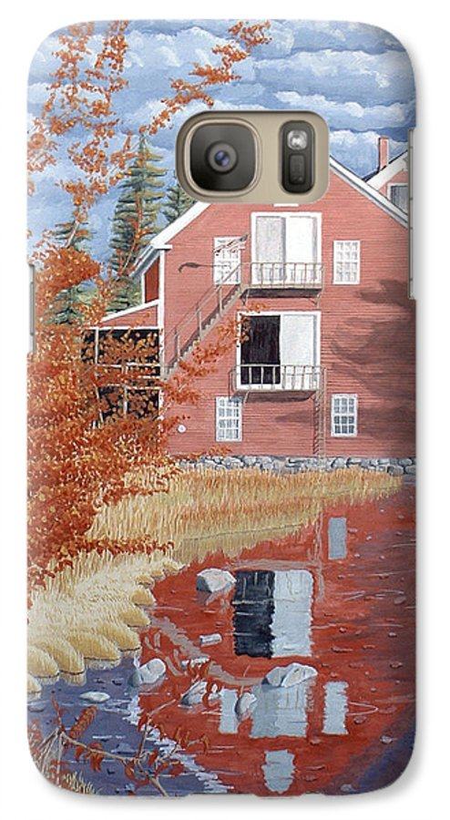 Autumn Galaxy S7 Case featuring the painting Pink House In Autumn by Dominic White