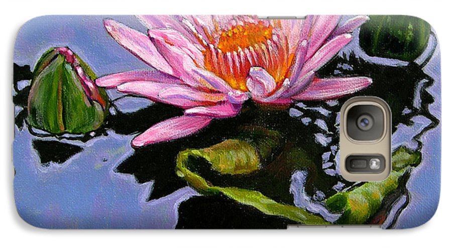 Water Lily Galaxy S7 Case featuring the painting Pink Lily With Dancing Reflections by John Lautermilch