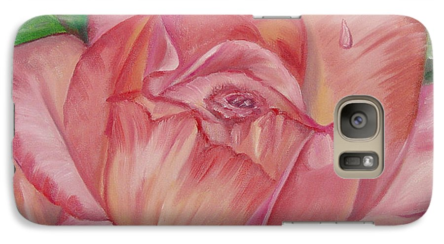 Flower Galaxy S7 Case featuring the painting Pink Rose by Quwatha Valentine