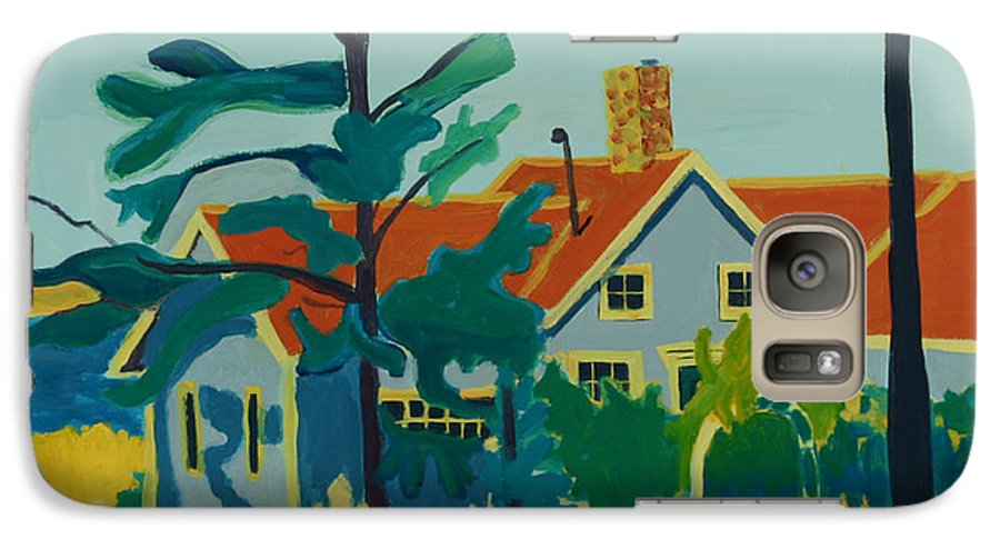 Beach Galaxy S7 Case featuring the painting Pinkys House On Monhegan by Debra Bretton Robinson