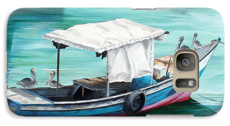 Fishing Boat Painting Seascape Ocean Painting Pelican Painting Boat Painting Caribbean Painting Pirogue Oil Fishing Boat Trinidad And Tobago Galaxy S7 Case featuring the painting Pirogue Fishing Boat by Karin Dawn Kelshall- Best