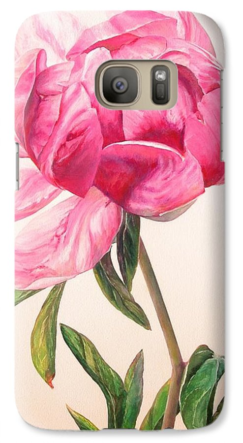 Floral Painting Galaxy S7 Case featuring the painting Pivoine 1 by Muriel Dolemieux