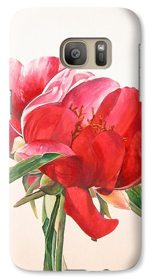 Floral Painting Galaxy S7 Case featuring the painting Pivoine 2 by Muriel Dolemieux