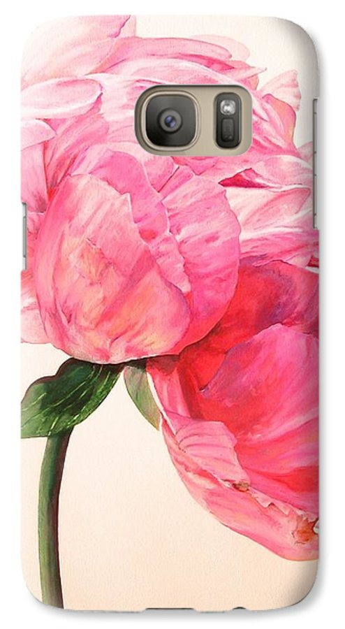 Floral Painting Galaxy S7 Case featuring the painting Pivoine 3 by Muriel Dolemieux