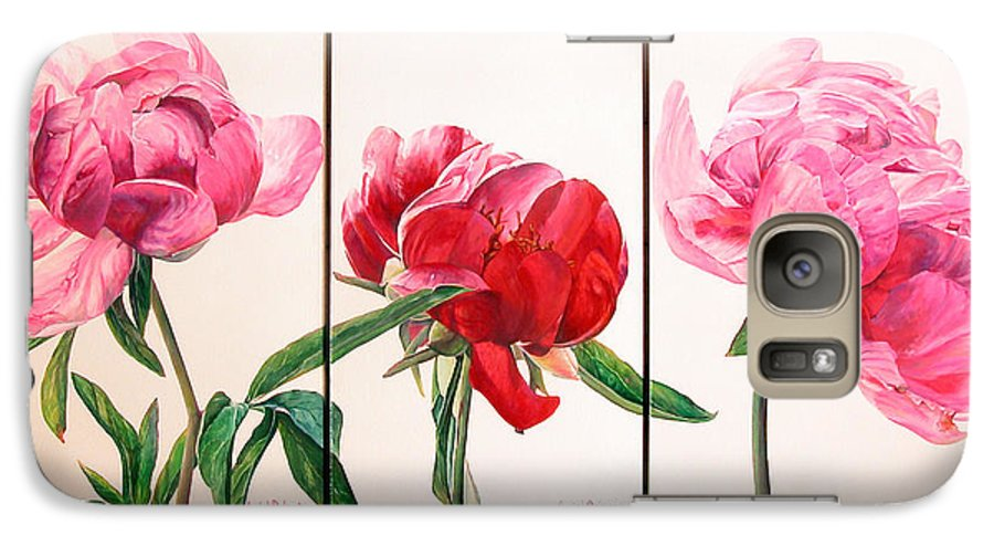 Floral Painting Galaxy S7 Case featuring the painting Pivoines by Muriel Dolemieux