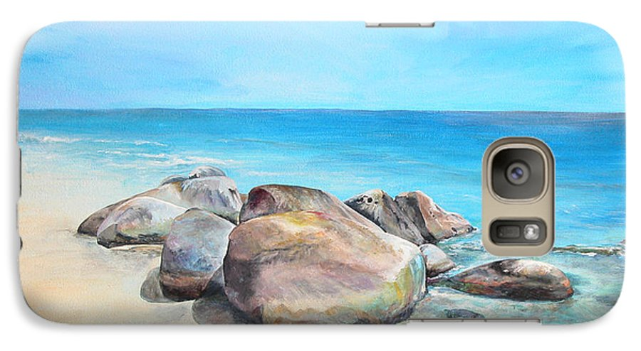 Paysage Galaxy S7 Case featuring the painting Plage by Muriel Dolemieux