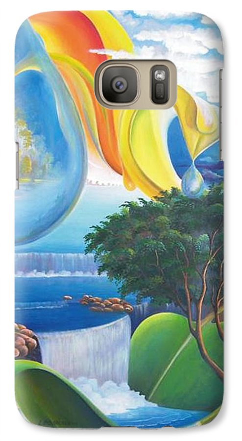 Surrealism - Landscape Galaxy S7 Case featuring the painting Planet Water - Leomariano by Leomariano artist BRASIL