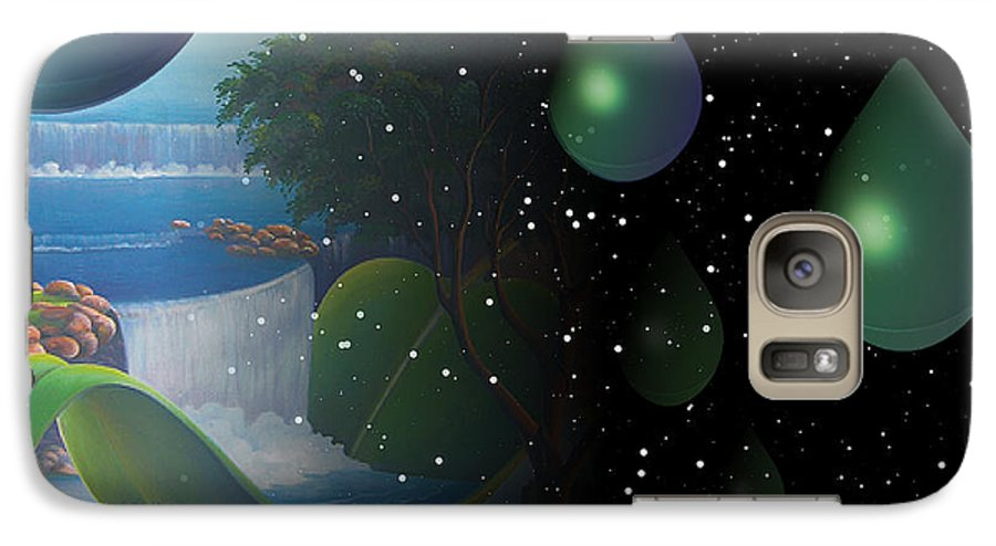 Suarrealism Galaxy S7 Case featuring the painting Planet Water by Leomariano artist BRASIL