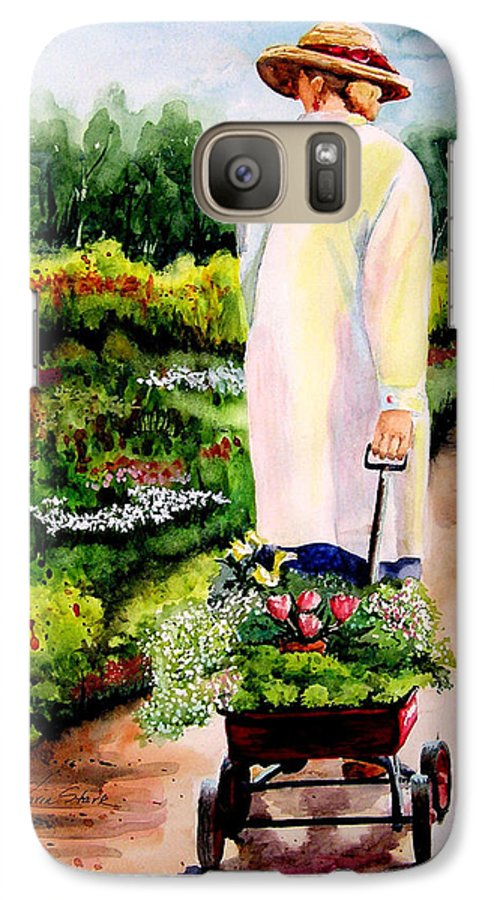 Garden Galaxy S7 Case featuring the painting Planting Plans by Karen Stark