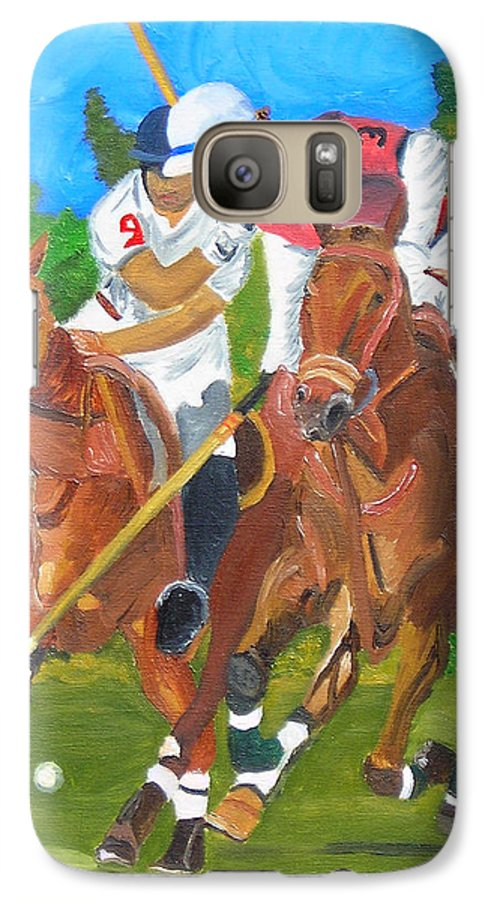 Polo Galaxy S7 Case featuring the painting Play In Motion by Michael Lee